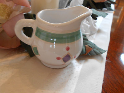 Caleca Hand Painted and Made in Italy Diamond Design Art Pottery Creamer Pitcher