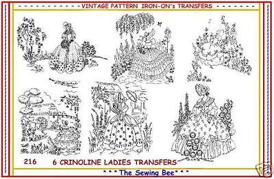 216 - 6  Crinoline Lady Embroidery Transfer Patterns