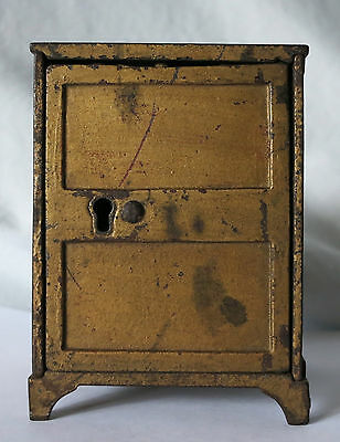 Vintage Two Panel Door Gold Painted Cast Iron Safe Bank