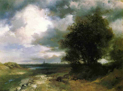 Nice Oil painting Thomas Moran - East Moriches beautiful landscape with trees