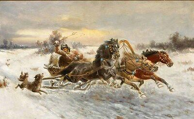 """Oil painting An old man in a Horse-drawn sleigh being fight wolves in winter 36"""""""