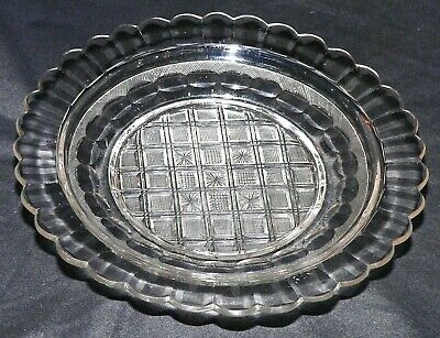 "cut glass Plate, strawberry diamond, flute, Midwestern USA, 9.5""d, mid-1800s"