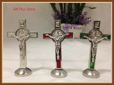 Red/Green/Cream Metal Enamelled Cross Crucifix Car Plaque Statue Adhesive Back