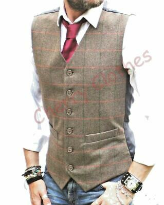 MENS WOOL BLEND HERRINGBONE TWEED CHECK BROWN WAISTCOAT VEST  -    SMALL to 4XL