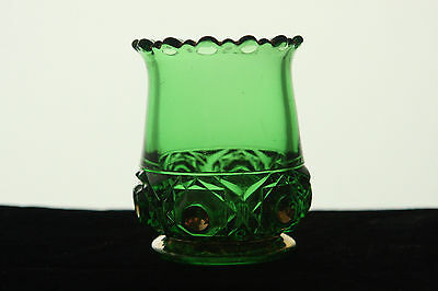 RIVERSIDE GLASS EMERALD GREEN BOX IN BOX PATTERN WITH GOLD TOOTHPICK HOLDER EAPG