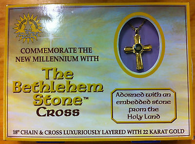 """The Bethlehem Stone Cross - 18"""" Chain & Cross Layered with 22 K Gold"""