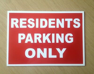 Residents Parking Only Sign in Red.  3mm Plastic Sign for Car Park etc   (PL-57)