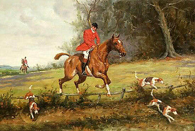 Oil painting male portrait horseman & red horse and dogs Hound in landscape art
