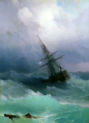 Beautiful huge Oil painting Ivan Aivazovsky - Tempest seascape waves ship canvas