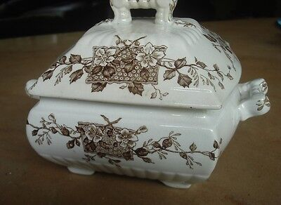Antique Aesthetic Grindley Brown Transferware Bowl W/Lid Blossom Stoneware