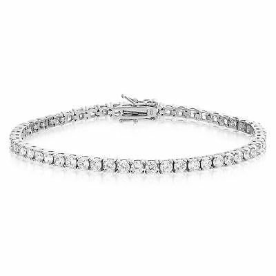Sterling Silver CZ Tennis Bracelet AAA Round Brilliant 3mm Cubic Zirconia Gems