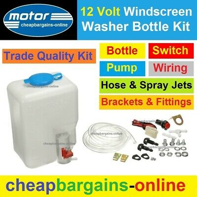 New Universal Windscreen Washer Bottle Kit - Bottle Pump Hose Jets Switch Wiring