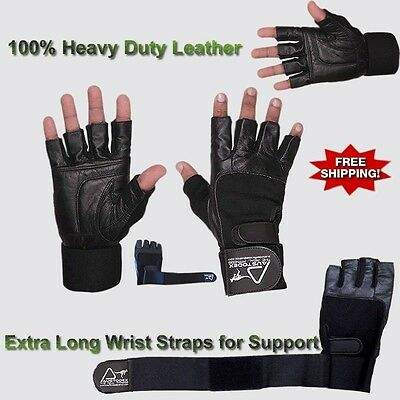 Weight lifting wrist support white Leather bodybuilding Gym long strap Gloves