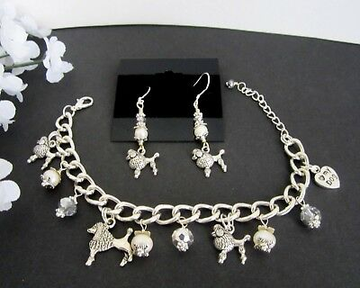Poodle Dog Charm Bracelet & Earrings w/ Fresh Water Pearls &  Crystals