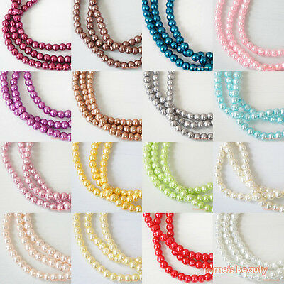 120pcs / 600pcs Colors 6mm Glass Pearls Loose Beads Strands Round Craft New