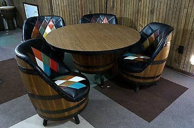 Vintage Mid Century Whiskey Barrel Bar Table & 4 Chairs MCM