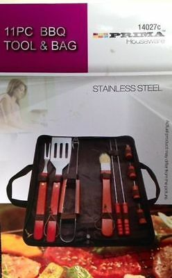 New Bbq Outdoor Cooking Tool Set11 Piece With Carry Bag Stainless Steel Utensils