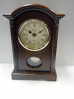 Bulova - Dalton -B7466 Small Traditional Wooden  Mantel Clock With Pendulum
