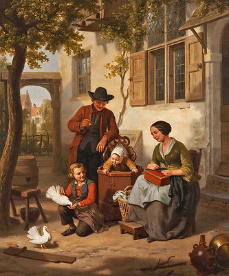 Still life Oil painting Basile de Loose -Happy family father mother kids birds