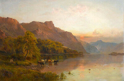 Beautiful Oil painting Rancher with dog cows in sunset landscape by river canvas