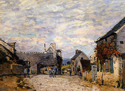 Stunning Oil painting Alfred Sisley - Village Street, Louveciennes landscape 36""