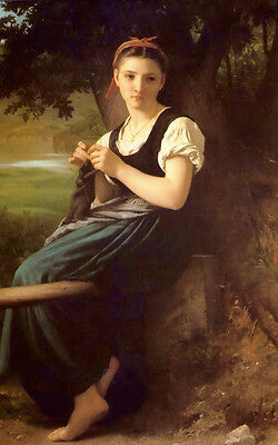 Huge Oil painting Bouguereau Young beauty portrait Knitting girl in forest 36""