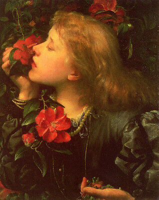 Art Oil painting George Frederick Watts - Choosing young girl with roses flowers