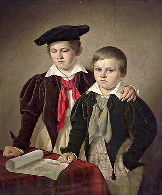Excellent Oil painting portraits young boys brother together by table on canvas