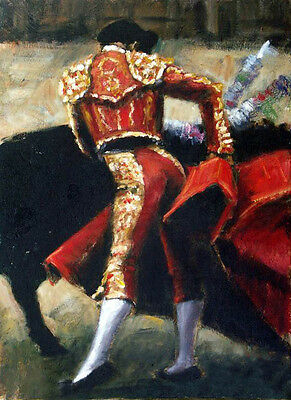 Oil painting male portrait Spanish bullfighter bullfights with strong black cow