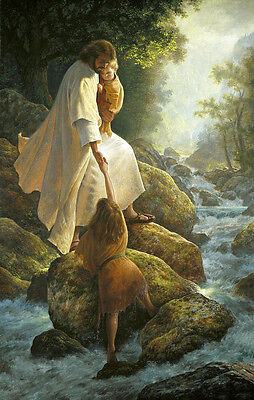 """Oil painting male portrait Christ Jesus with child and little girl by stream 36"""""""