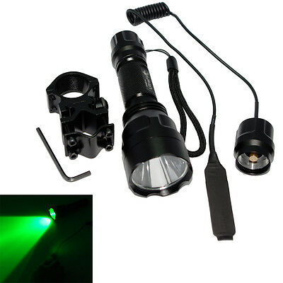 C8 CREE Green Light Hunting LED Flashlight Torch + Switch + Tactical Mount