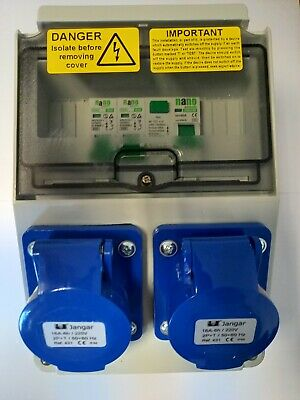 Caravan,Camping, Marine Hook Up, RCD Industrial Socket. 240V Distribution board.
