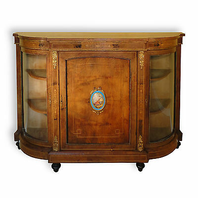 Victorian walnut & marquetry credenza, Sevres plaque, c.1870 *UK delivery £95*