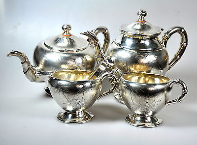 1771 Grams ANTIQUE CHINESE CHINA EXPORT SOLID SILVER ENGRAVED TEASET 1920