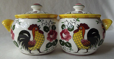 Vintage Ucagco Early Provincial Rooster & Roses Double Jam/Jelly & Lids- Japan