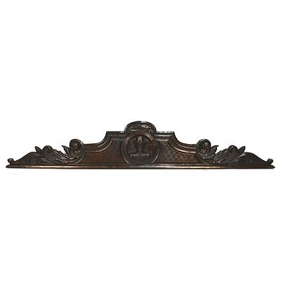 Large Antique French Carved Oak Renaissance Architectural Figural Crest Pediment
