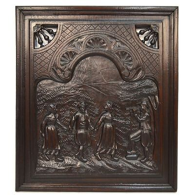Antique French Carved Chestnut Architectural Salvaged Brittany Panel Dancing