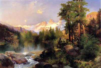 Dream-art Oil painting Thomas Moran - The Three Tetons nice landscape & river