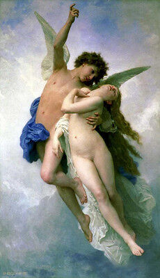Nice Oil painting Bouguereau - Psyche and Cupid Flying romantic young lovers 36""