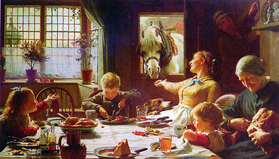 """Nice Oil painting F.C. Cotman - One of the Family have breakfast with horse 36"""""""