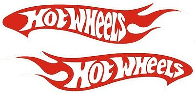 """2 Hot Wheels Decals Car Sticker Sign Red and White Vinyl Brand New 1.5""""x7"""" each"""