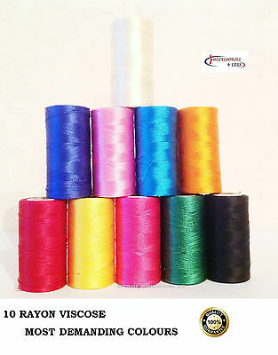 10 Spools of Sewing Machine Silk Embroidery Threads BROTHER,JANOME , GUTERMAN