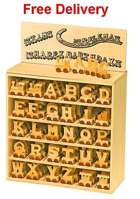 Alphabet train letters for personalized wooden name train as Christening gift