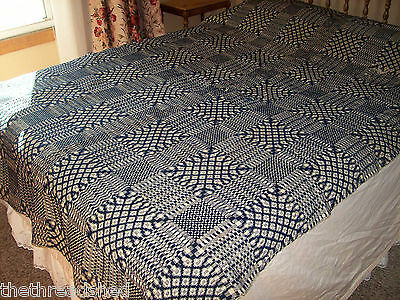 1800S Antique Wool Hand Woven Coverlet Blue Natural 64in X 98in