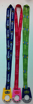 Corona Lanyard Bottle Holders (Lot of 3 - Blue, Green, and Pink )