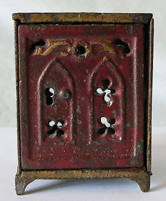 CHURCH WINDOW RED PAINTED CAST IRON SAFE BANK by SHIMER TOY CO.