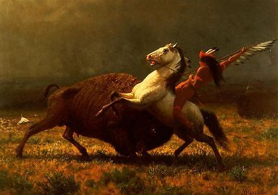 """Huge art Oil painting The Last of the Buffalo horseman with Wild ox canvas 36"""""""