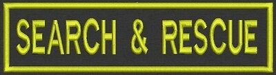 "SEARCH & RESCUE Badge, Tag, Patch, 8"" x 2"" - Sew on Or Iron On"