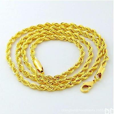 DI US Cool  gold plated man rope chain necklace 24 inches