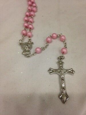 Light Pink Plastic Rosary Round Beads Necklace for Children / Adults in Gift Box